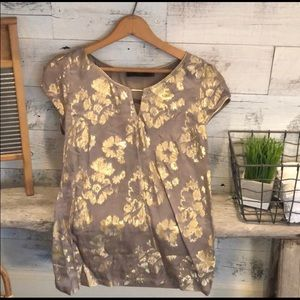 The Limited taupe blouse w Gold metallic flowers